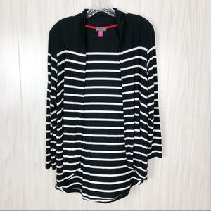 Vince Camuto   Black & White Stripped Cardigan